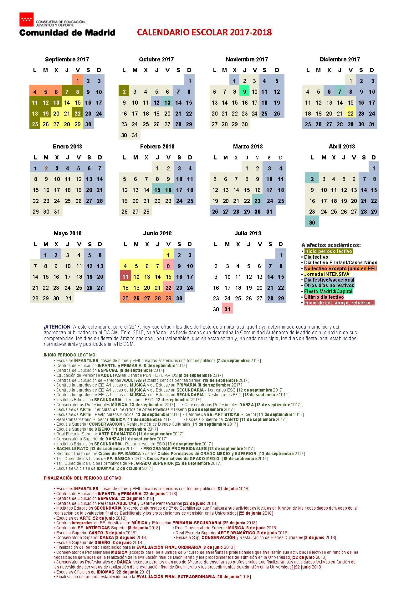 Calendario Escolar Madrid 2019 Y 2020.Ies El Alamo