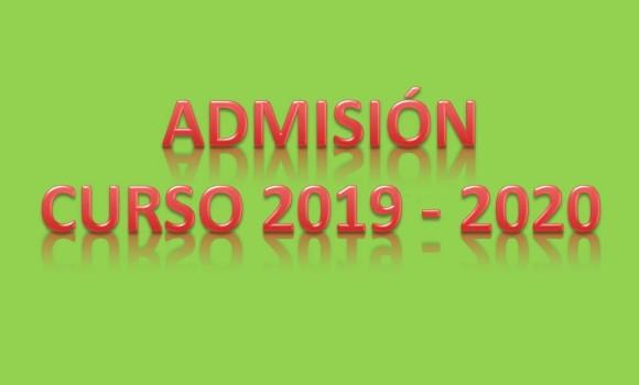 PROCESO ADMISIÓN AL CURSO 2019/2020