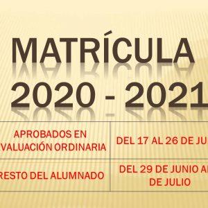 MATRICULACIÓN 2020-2021