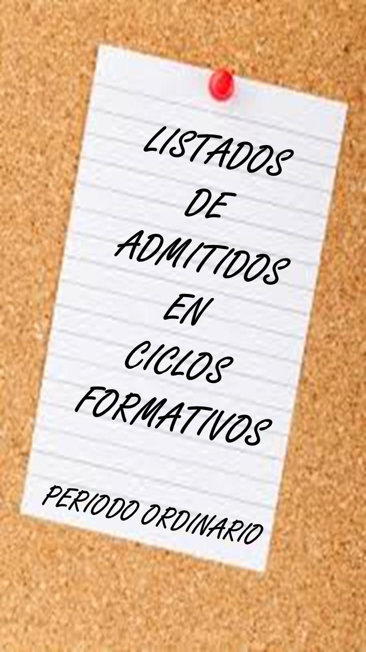 LISTADOS DE ADMITIDOS EN CICLOS FORMATIVOS EN LA COMUNIDAD DE MADRID