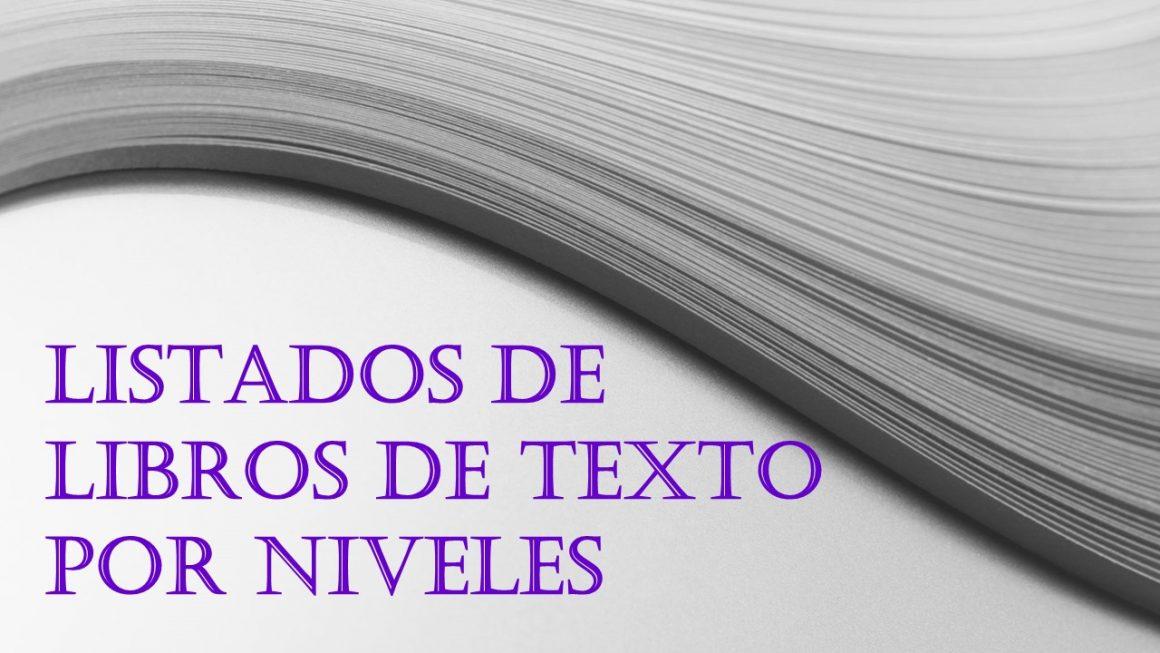 LISTADOS DE LIBROS DE TEXTO