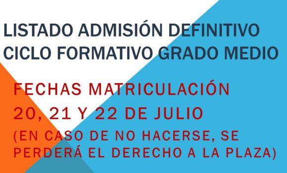 LISTADO DEFINITIVO ADMISIÓN CFGM 2020-21