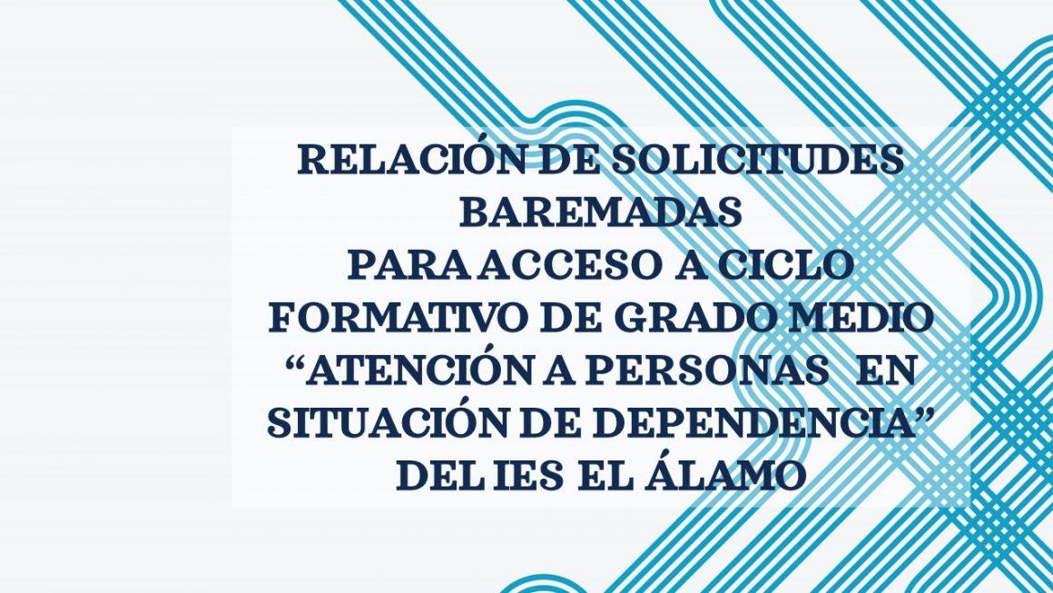 SOLICITUDES BAREMADAS PARA CICLO FORMATIVO GRADO MEDIO