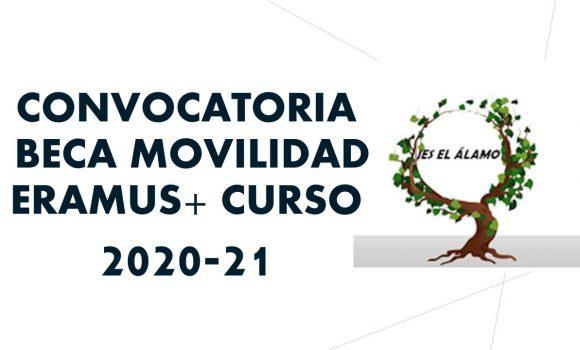 CONVOCATORIA BECA MOVILIDAD ERAMUS+ CURSO 2020-21